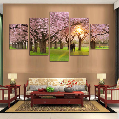 Romantic Cherry Blossoms - 5 Piece Canvas Painting-Canvas-TEEPEAT