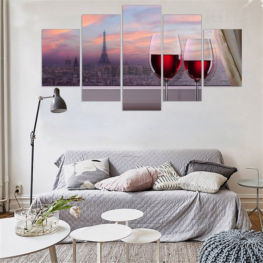 Red Wine City Landscape - 5 Piece Canvas Painting