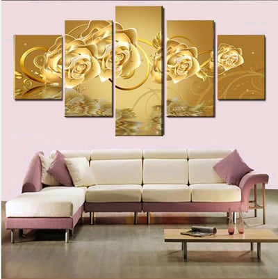 Gold Roses Painting - 5 Piece Canvas-Canvas-TEEPEAT