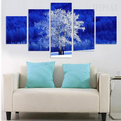White Tree In The Wild - 5 Piece Canvas Painting-Canvas-TEEPEAT
