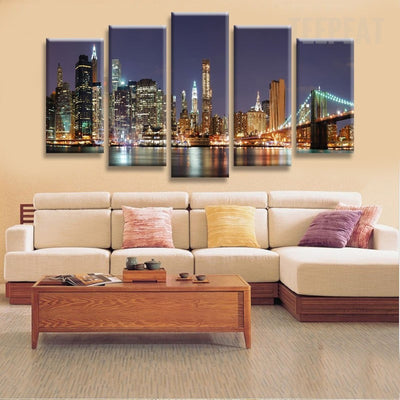 Manhattan Brooklyn Bridge - 5 Piece Canvas-Canvas-TEEPEAT