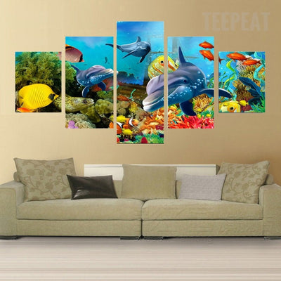 Underwater World - 5 Piece Canvas Painting-Canvas-TEEPEAT