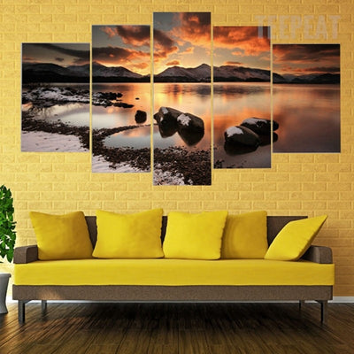 Mountain, Rocks and Seaview In The Dusk - 5 Piece Canvas-Canvas-TEEPEAT