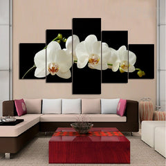 White Orchid Flowers - 5 Piece Canvas Painting