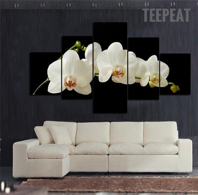 White Orchid Flowers - 5 Piece Canvas Painting-Canvas-TEEPEAT
