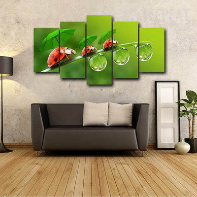 Three Ladybugs - 5 Piece Canvas Painting-Canvas-TEEPEAT