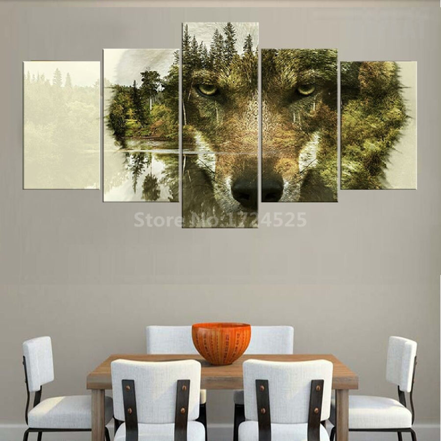 Invisible Tree And Wolf Face Landscape - 4 Piece Canvas Painting