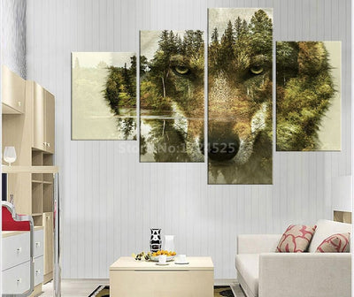 Invisible Tree And Wolf Face Landscape - 4 Piece Canvas Painting-Canvas-TEEPEAT