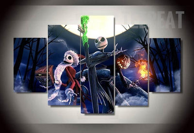 Nightmare Before Christmas: Halloween Cartoon - 5 Piece Canvas-Canvas-TEEPEAT