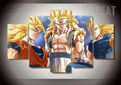 Gogeta, Goku, and Vegeta Of Dragon Ball Z - 5 Piece Canvas-Canvas-TEEPEAT