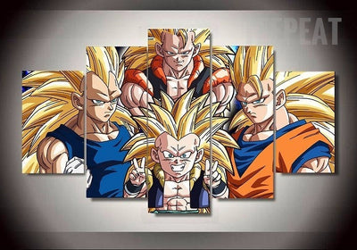 Gotinks, Goku, Vegeta and Gogeta of Dragon Ball Z - 5 Piece Canvas-Canvas-TEEPEAT