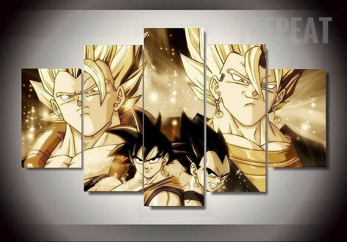 Goku, Vegeta, Gogeta and Gogeto Fusion - 5 Piece Canvas Painting