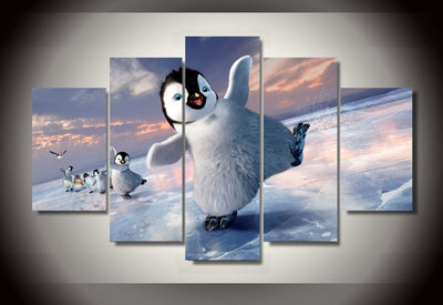 Happy Feet Dancing On The Snow - 5 Piece Canvas-Canvas-TEEPEAT