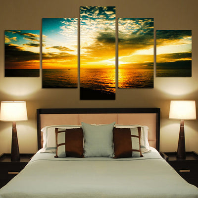 The Yellow Seaview And Setting Sun - 5 Piece Canvas-Canvas-TEEPEAT
