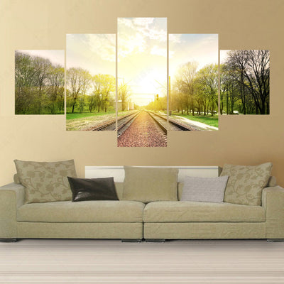 The Railway Before The Trees and Sunrise - 5 Piece Canvas-Canvas-TEEPEAT