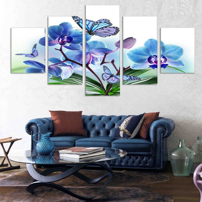 Purple Pink Beautiful Flowers and Butterfy - 5 Piece Canvas-Canvas-TEEPEAT