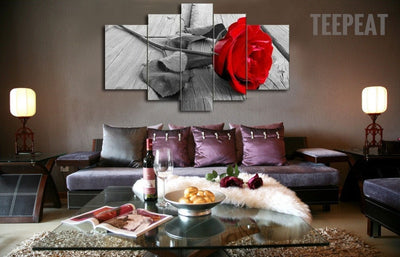 Elegant Red Rose - 5 Piece Canvas-Canvas-TEEPEAT