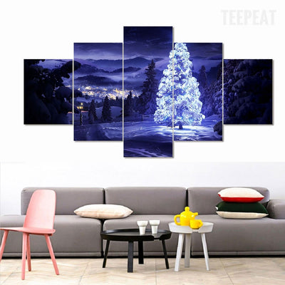 Sparkling Christmas Tree - 5 Piece Canvas Painting-Canvas-TEEPEAT
