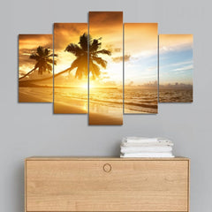 Palm Trees, Sunset, And The Sandy Beach - 5 Piece Canvas