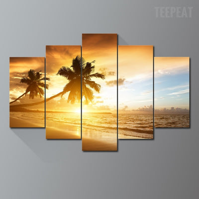 Palm Trees, Sunset, And The Sandy Beach - 5 Piece Canvas-Canvas-TEEPEAT