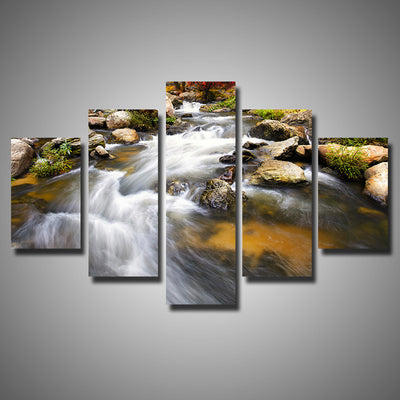 Running Water Scenery - 5 Piece Canvas Painting-Canvas-TEEPEAT