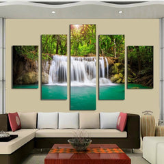 Majestic Waterfalls And The Green Lagoon - 5 Piece Canvas