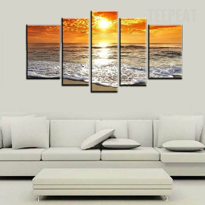 Seascape Beach Wave Painting - 5 Piece Canvas-Canvas-TEEPEAT