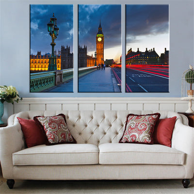 Long Road Before The Building Landscape - 3 Piece Canvas-Canvas-TEEPEAT