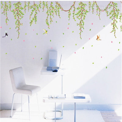 Green Leaves and Pink Flowers with Birds Wall Stickers