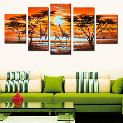 Giraffe Walking On African Landscape - 5 Piece Canvas-Canvas-TEEPEAT
