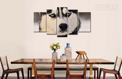Siberian Husky With Blue Eyes - 5 Piece Canvas Painting-Canvas-TEEPEAT