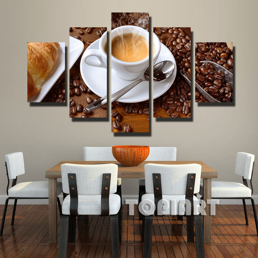 Steaming Coffee Cup Painting 5 Piece Canvas Empire Prints