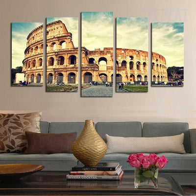 Stunning Building Patterned On Classical Architecture - 5 Piece Canvas-Canvas-TEEPEAT