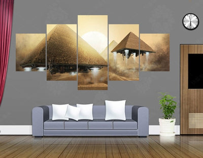 Pyramid UFO Painting - 5 Piece Canvas-Canvas-TEEPEAT