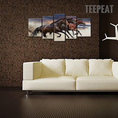 Three Strong Horses Running Fast Together - 5 Piece Canvas-Canvas-TEEPEAT