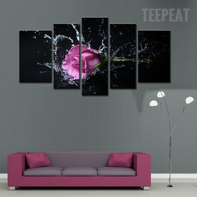 Purple Lavender Rose On The Splashing Water - 5 Piece Canvas-Canvas-TEEPEAT