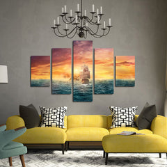 Pirate Ship In The Middle Of Vast Sea - 5 Piece Canvas Painting