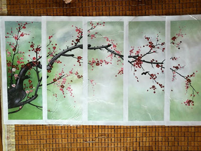 Plum Flower Painting - 5 Piece Canvas-Canvas-TEEPEAT