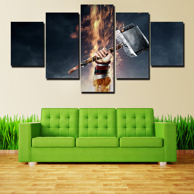 Sharp Axe On A Flame - 5 Piece Canvas Painting-Canvas-TEEPEAT