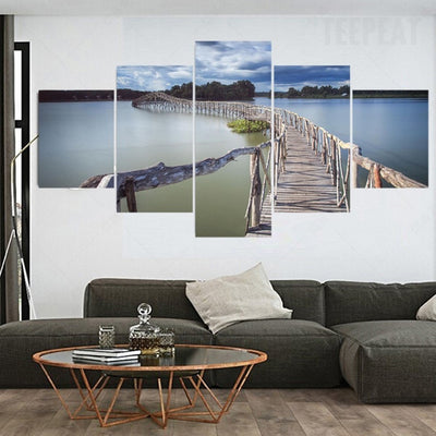 Long Wooden Bridge On A Seaview Landscape - 5 Piece Canvas-Canvas-TEEPEAT