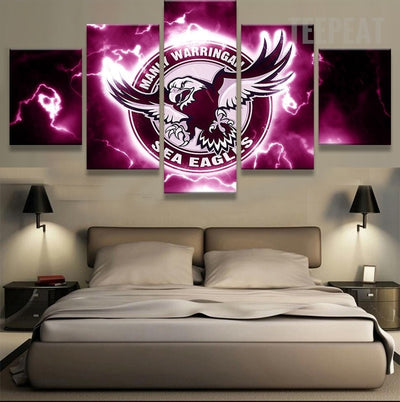 Manly Warringah Sea Eagles Sports Team - 5 Piece Canvas-Canvas-TEEPEAT