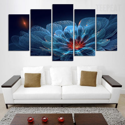 Shining Modern Blue Flower - 5 Piece Canvas Painting-Canvas-TEEPEAT