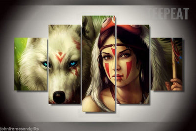 Princess Mononoke Fierce Look - 5 Piece Canvas Painting-Canvas-TEEPEAT