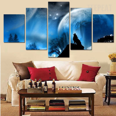 Wolf Before The Full Moon And Starry Sky - 5 Piece Canvas-Canvas-TEEPEAT