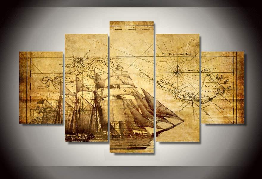 Retro Sailing Boat - 5 Piece Canvas Painting