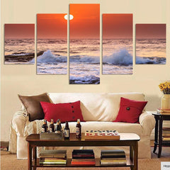 Sunset by the Beach - 5 Piece Canvas