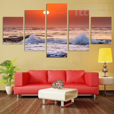 Lovely Sunrise From Beach Seaview - 5 Piece Canvas-Canvas-TEEPEAT