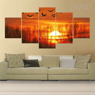 The Wild Geese Before The Sunset - 5 Piece Canvas-Canvas-TEEPEAT