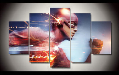 Superhero Flash Running Fast - 5 Piece Canvas Painting-Canvas-TEEPEAT