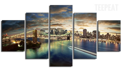 The Beauty of Chicago City - 5 Piece Canvas Painting-Canvas-TEEPEAT